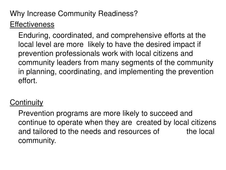 Why Increase Community Readiness?