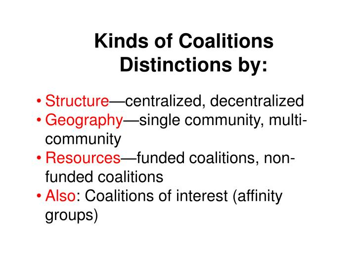 Kinds of Coalitions