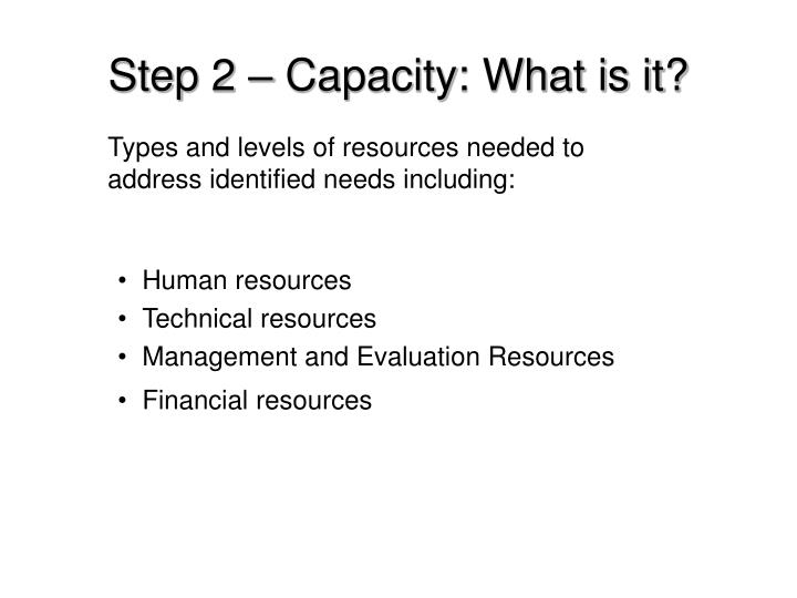 Step 2 – Capacity: What is it?
