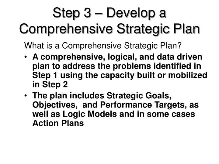 Step 3 – Develop a Comprehensive Strategic Plan