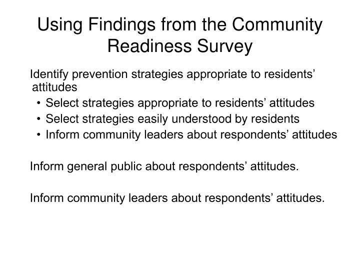 Using Findings from the Community Readiness Survey