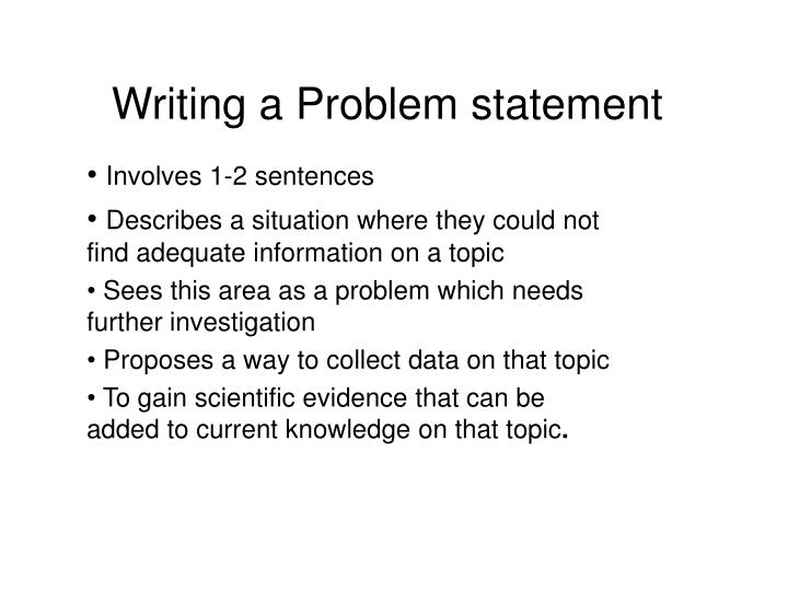 Writing a Problem statement