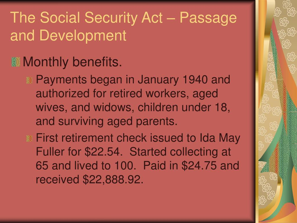 The Social Security Act – Passage and Development