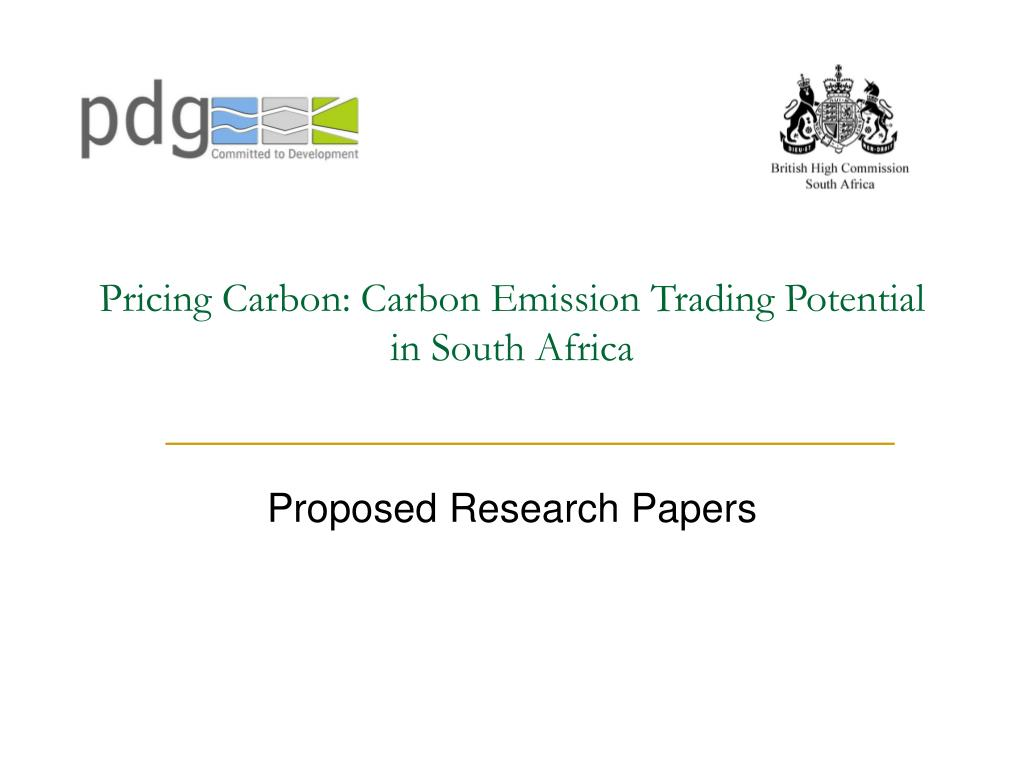 pricing carbon carbon emission trading potential in south africa l.