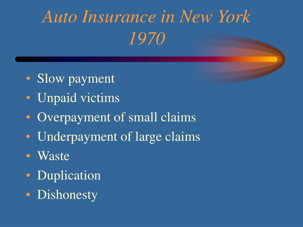Auto Insurance in New York 1970