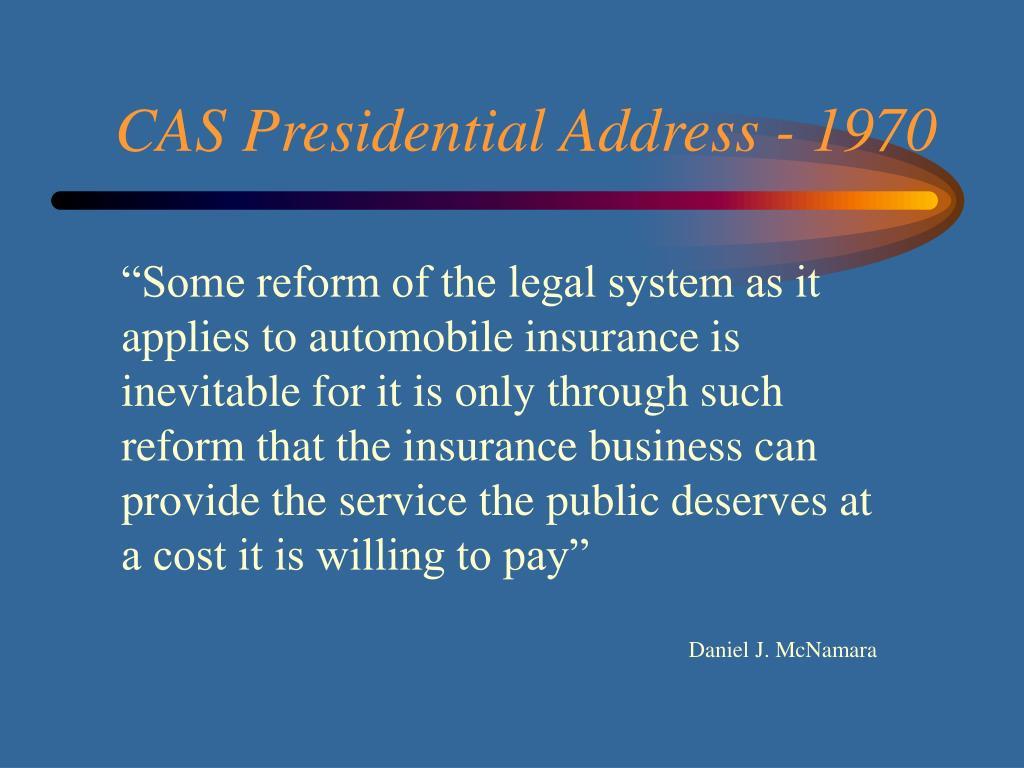 CAS Presidential Address - 1970