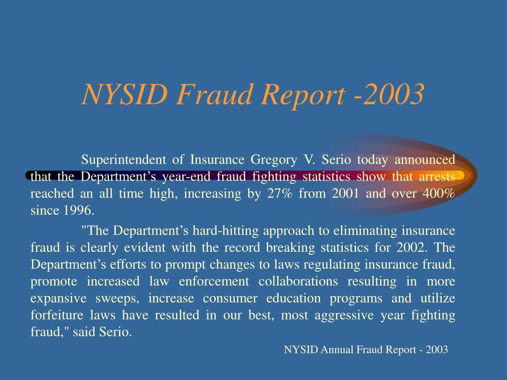 NYSID Fraud Report -2003