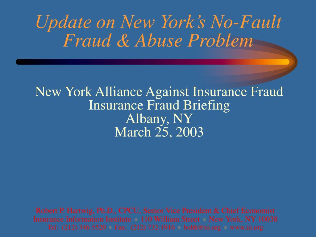 Update on New York's No-Fault Fraud & Abuse Problem