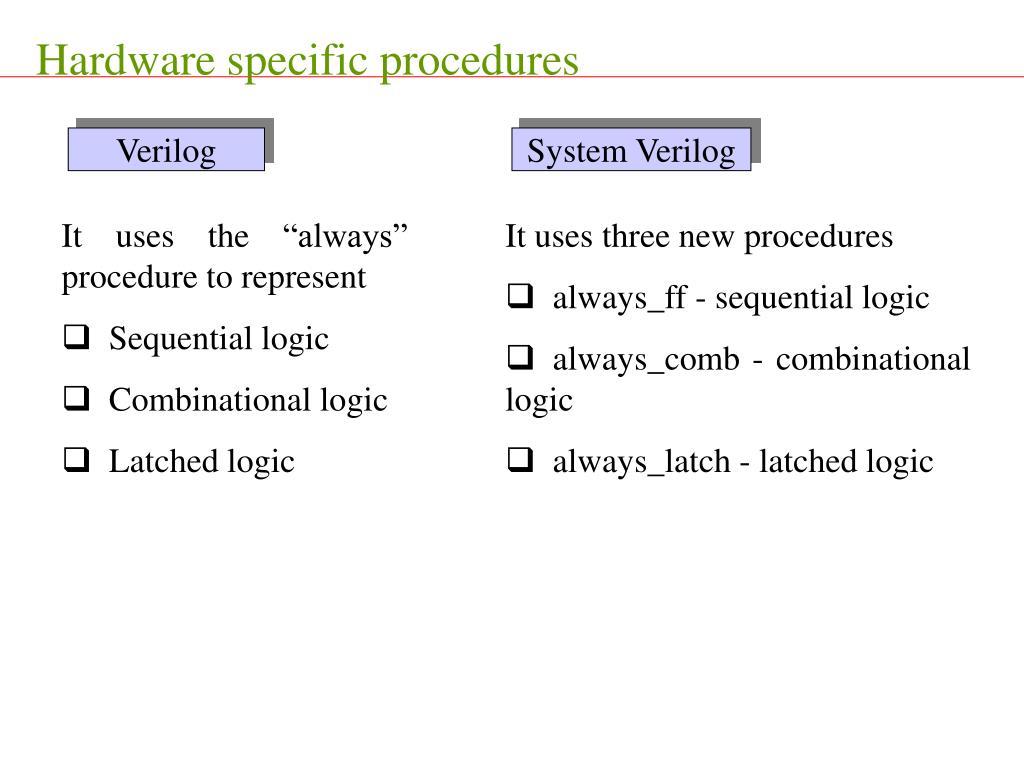 Hardware specific procedures