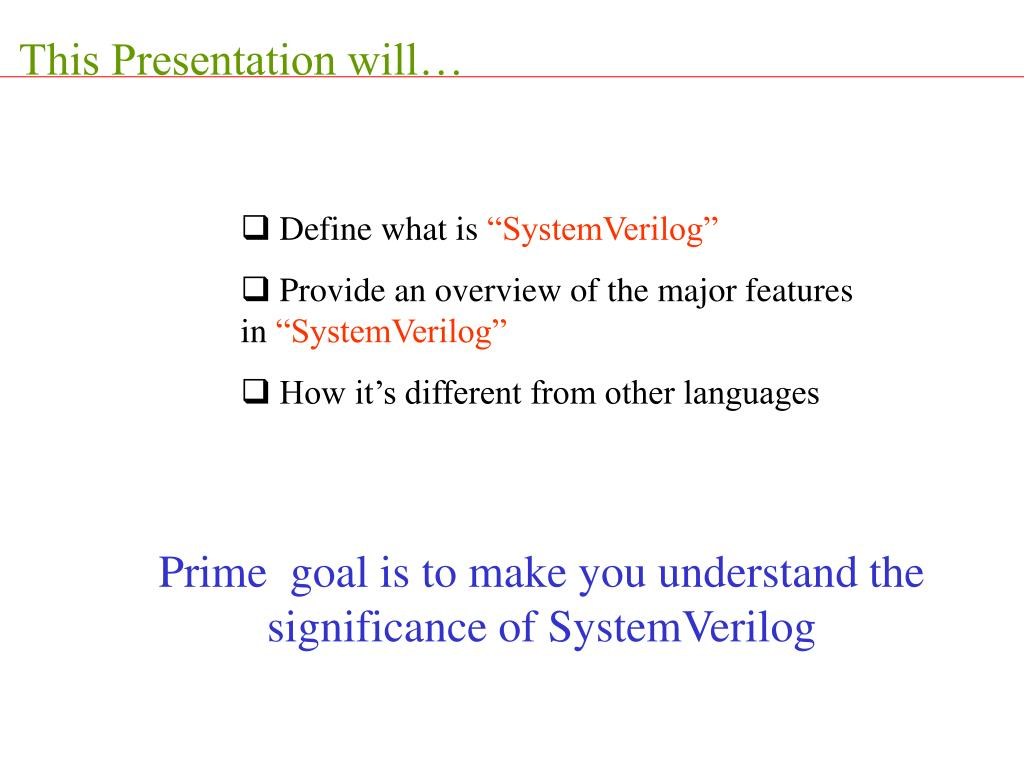 This Presentation will…