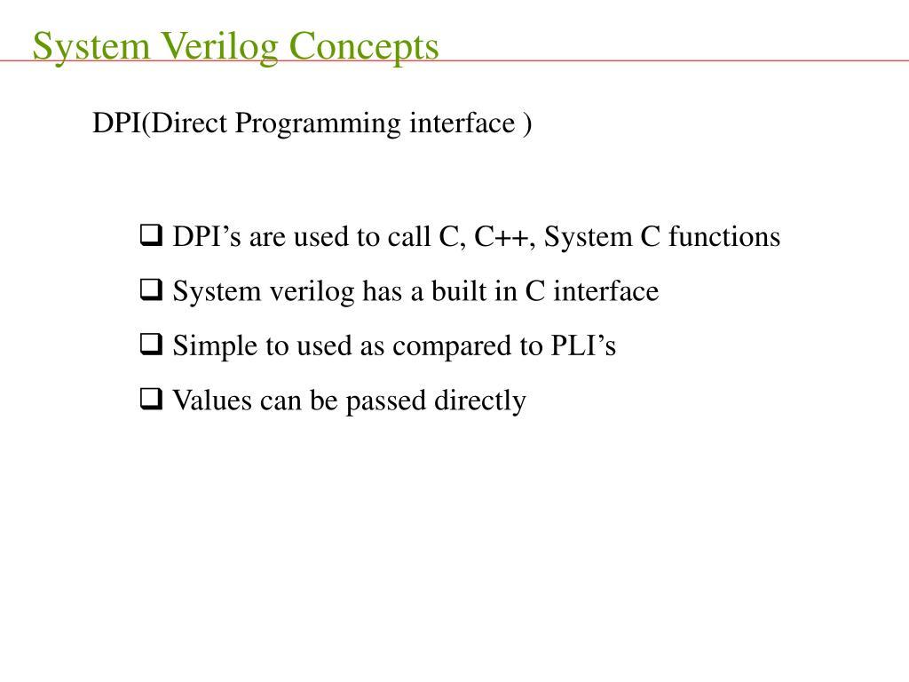 System Verilog Concepts