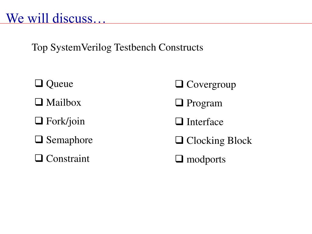 Top SystemVerilog Testbench Constructs