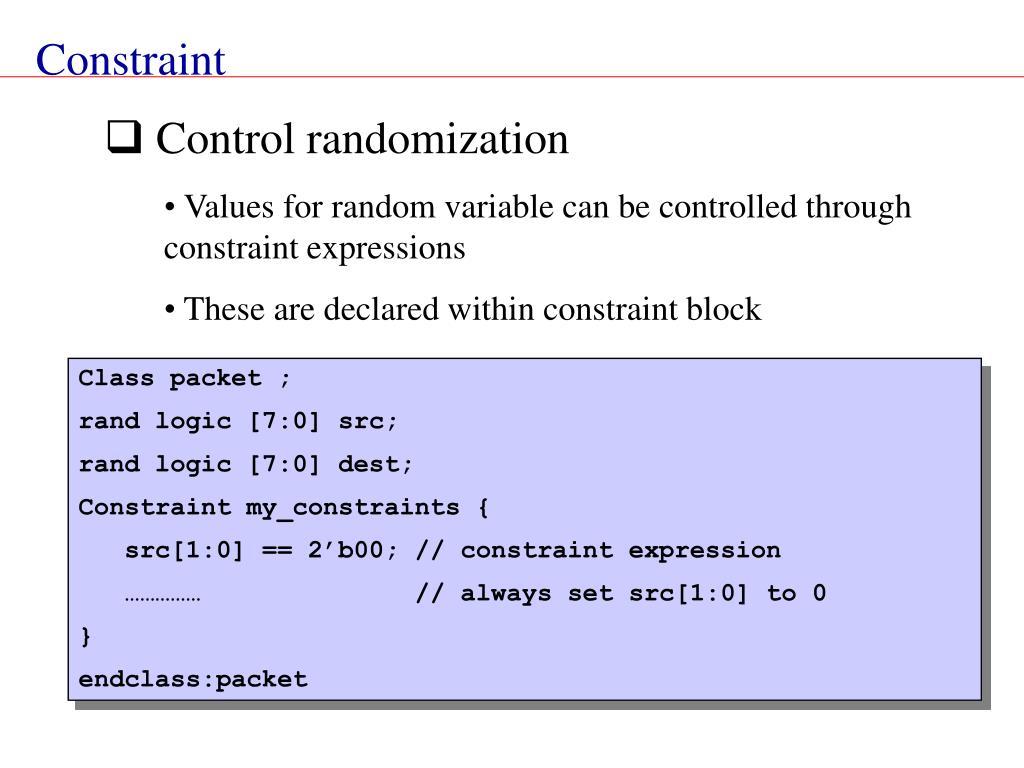 Control randomization