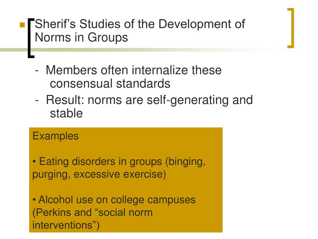 Sherif's Studies of the Development of Norms in Groups