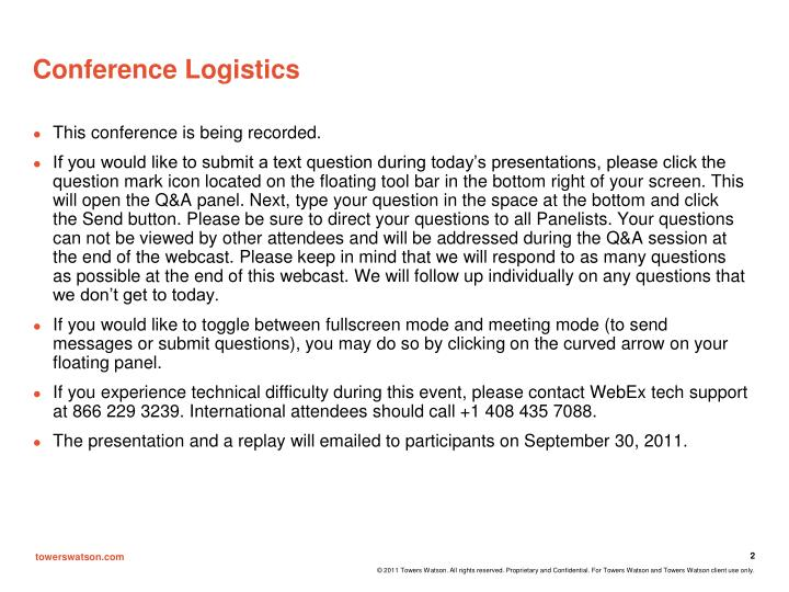 Conference logistics