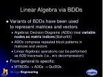 linear algebra via bdds