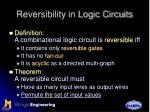 reversibility in logic circuits