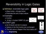 reversibility in logic gates