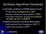synthesis algorithms compared