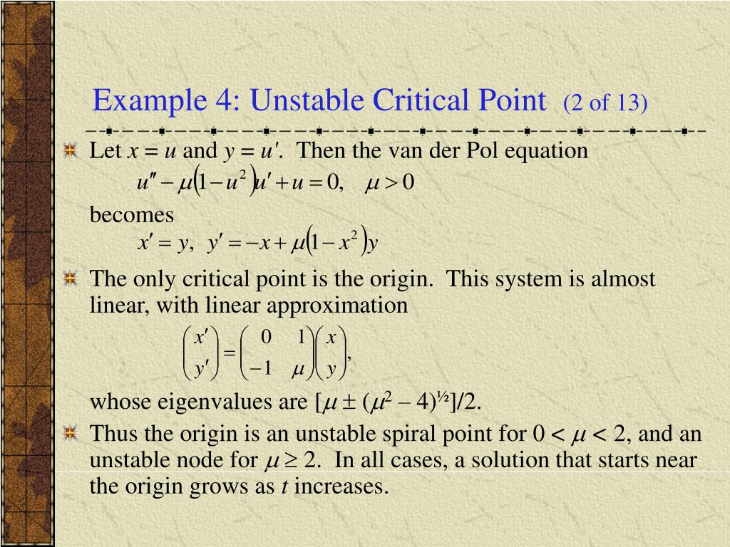 Example 4: Unstable Critical Point