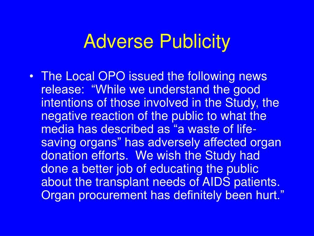 Adverse Publicity