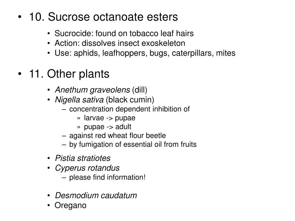 10. Sucrose octanoate esters
