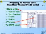 preparing all answer docs must mark whether pre id or not