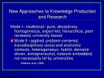 new approaches to knowledge production and research