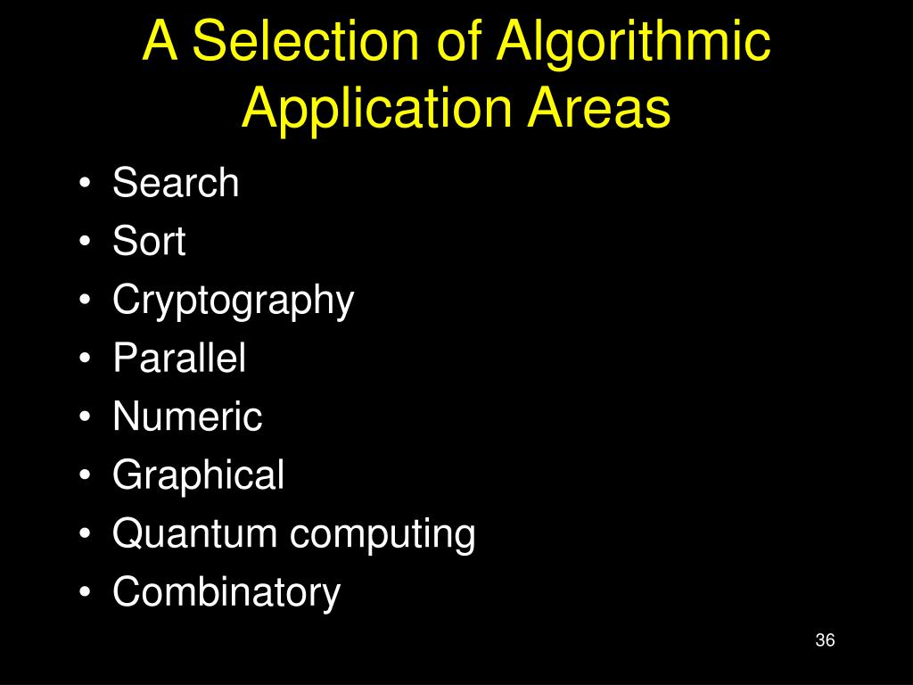A Selection of Algorithmic Application Areas