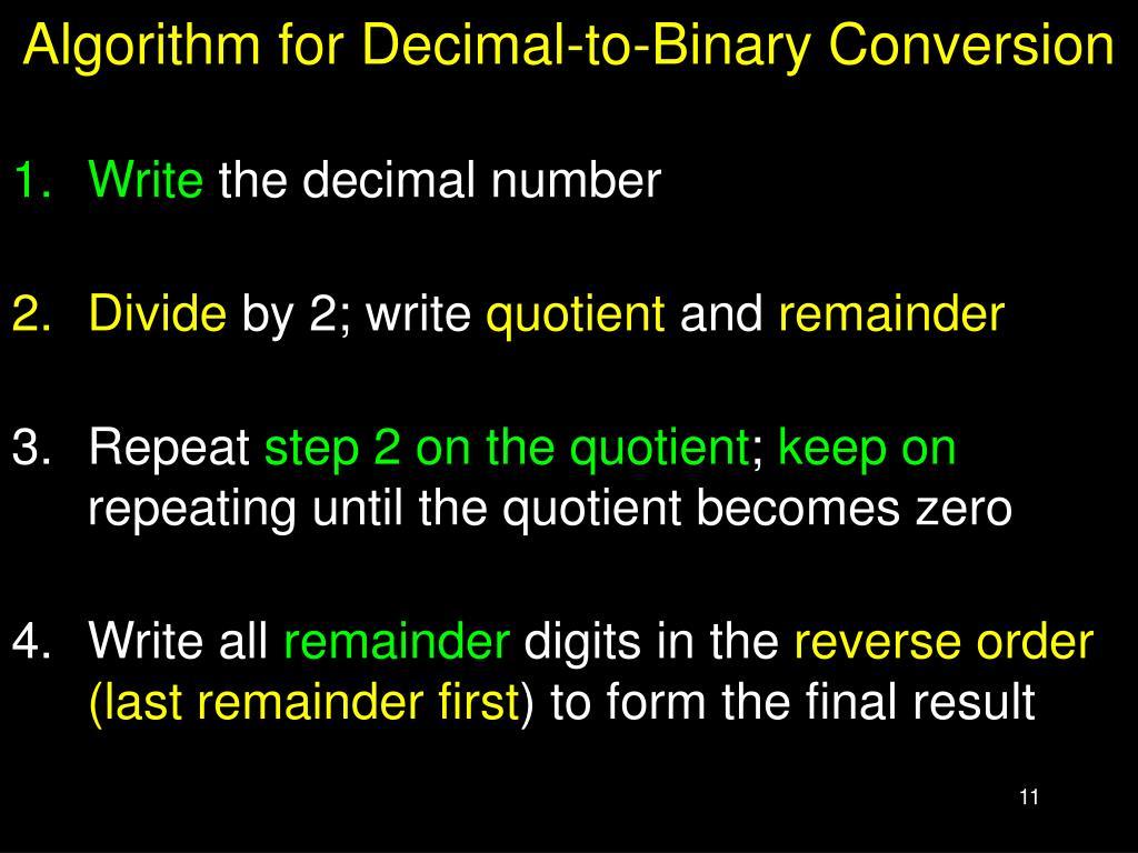 Algorithm for Decimal-to-Binary Conversion