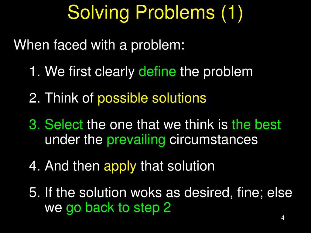 Solving Problems (1)