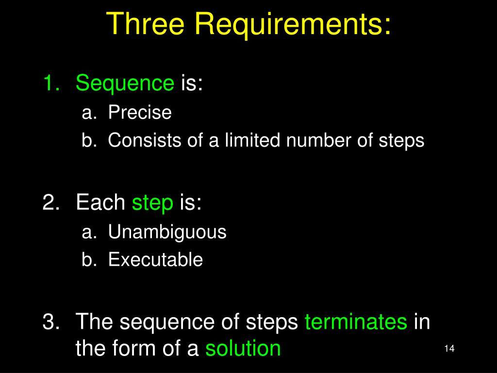 Three Requirements: