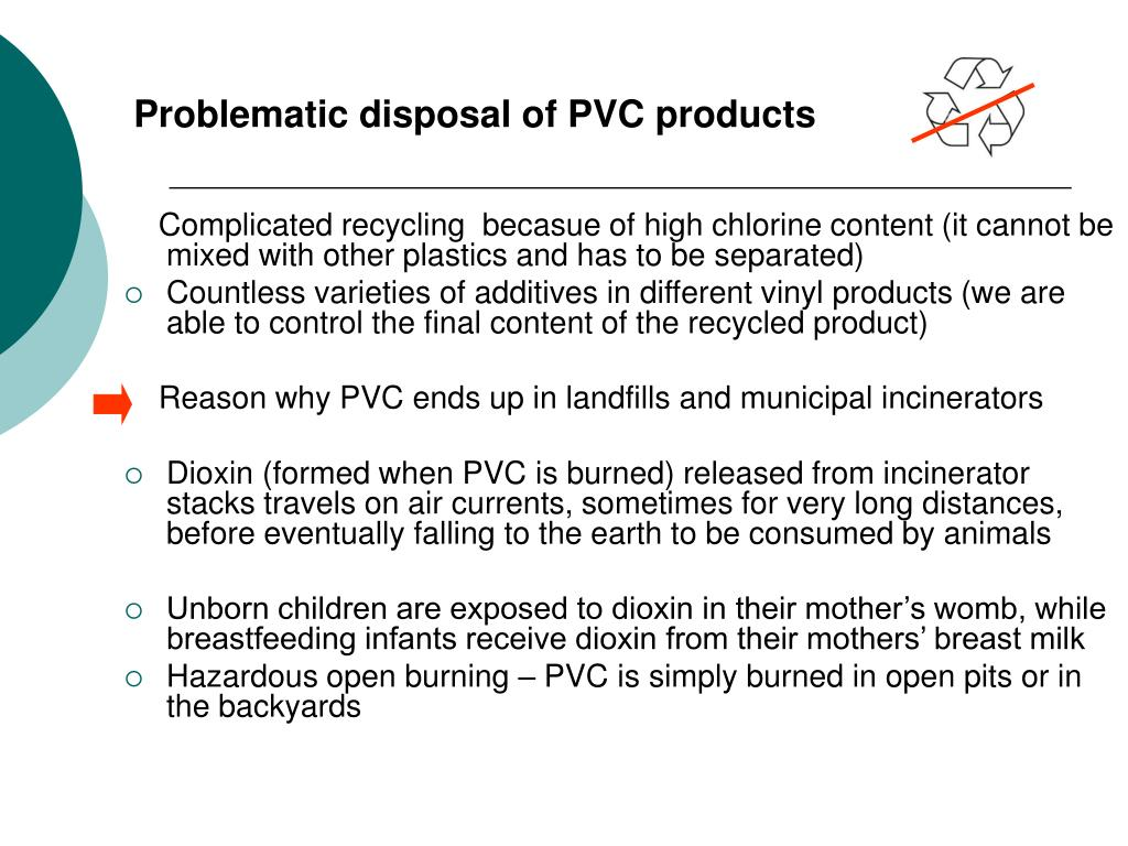 Problematic disposal of PVC products