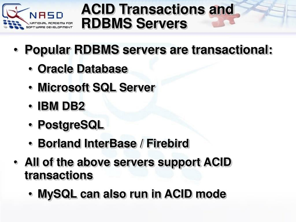 ACID Transactions and RDBMS Servers