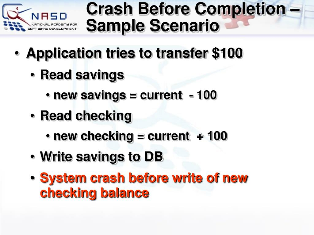 Crash Before Completion – Sample Scenario