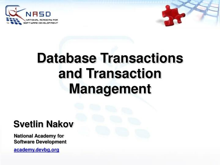 Database transactions and transaction management