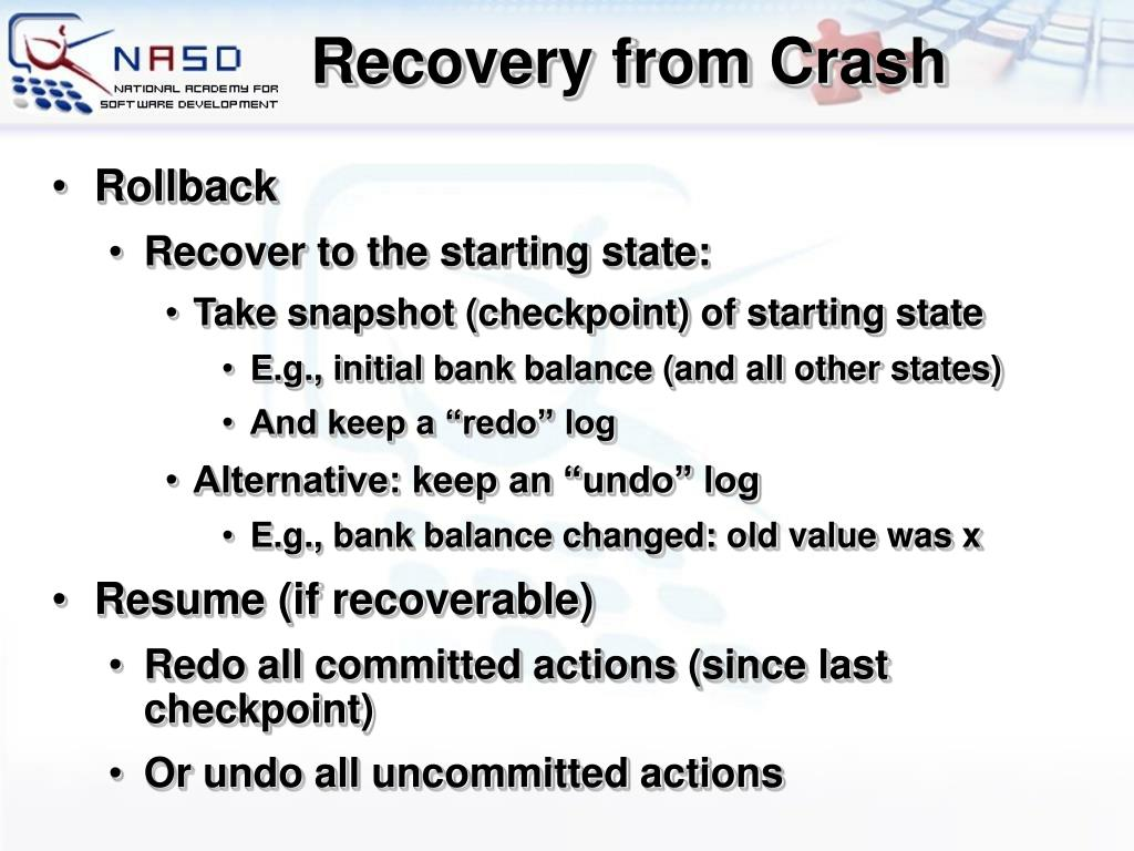 Recovery from Crash