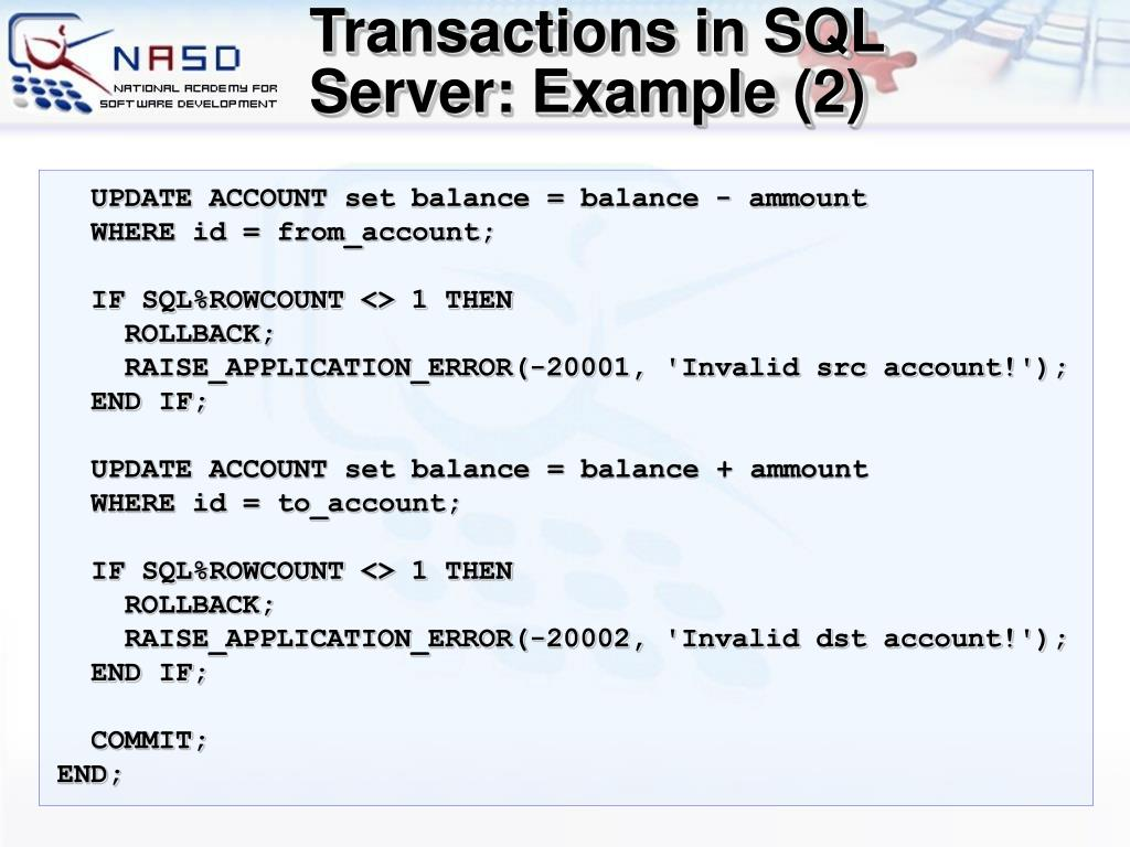 Transactions in SQL Server: Example (2)