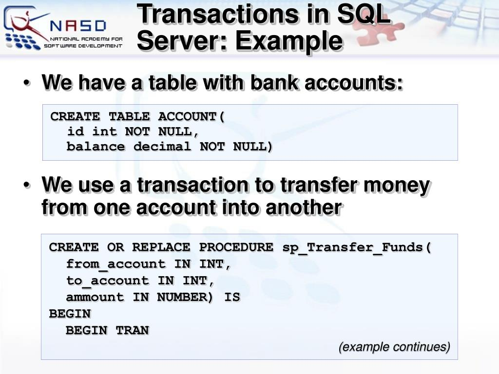 Transactions in SQL Server: Example