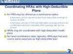coordinating hras with high deductible plans