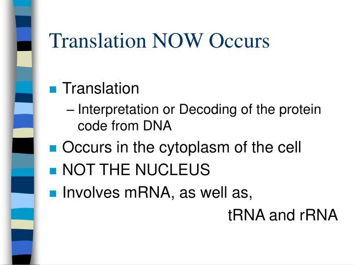 Translation NOW Occurs