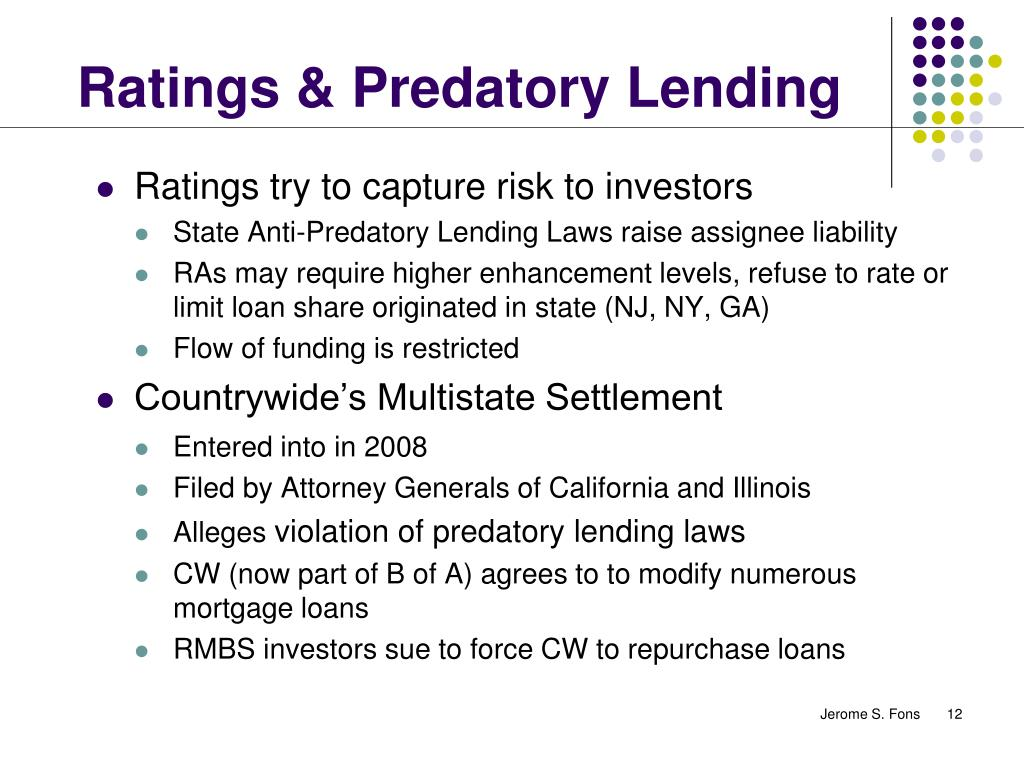 Ratings & Predatory Lending