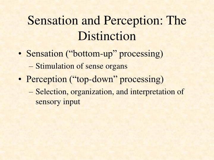 Sensation and perception the distinction