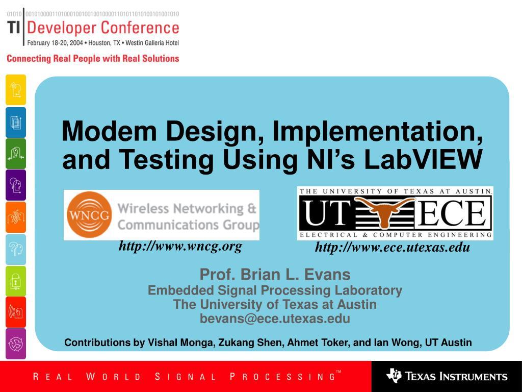 modem design implementation and testing using ni s labview l.