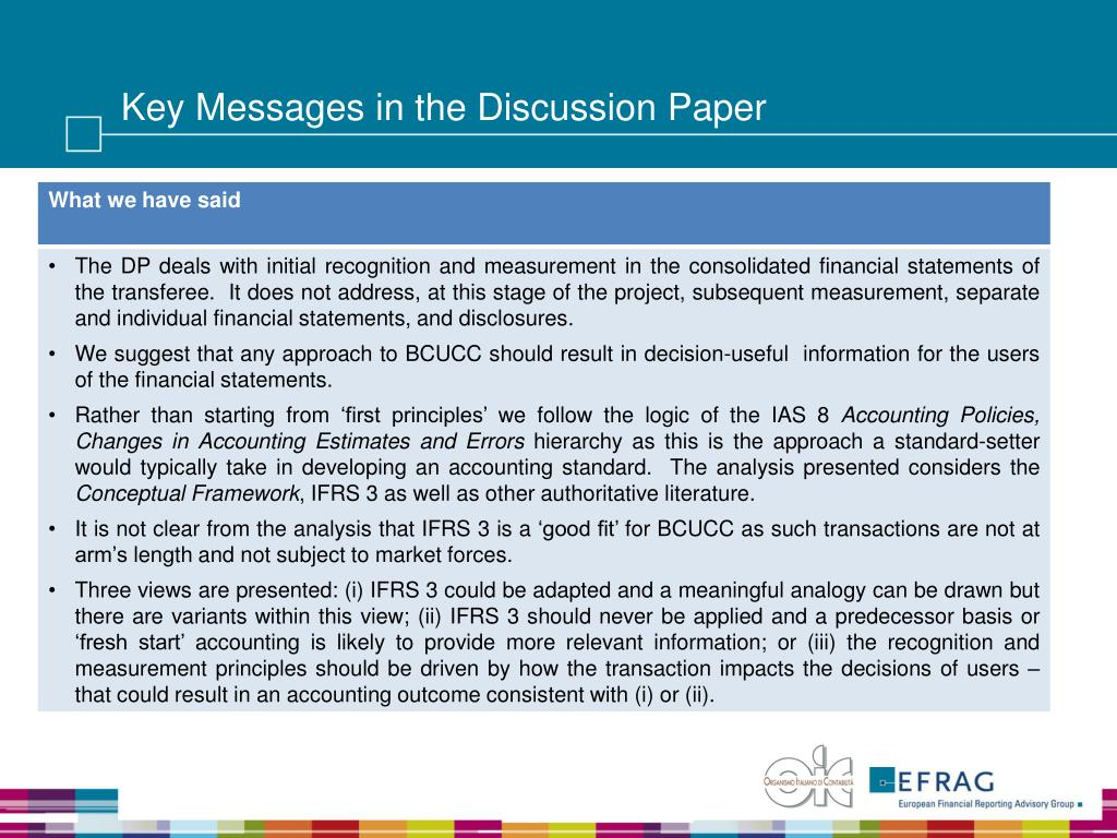 Key Messages in the Discussion Paper