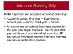 advanced standing only