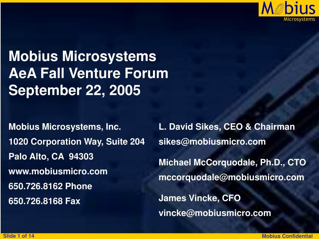 mobius microsystems aea fall venture forum september 22 2005