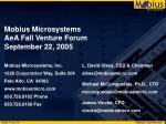 mobius microsystems aea fall venture forum september 22 200514