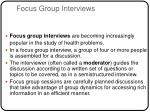 focus group interviews