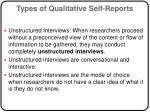 types of qualitative self reports